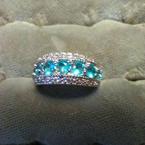 Blue Topaz- Cubic Zarconia Ring- Size 6